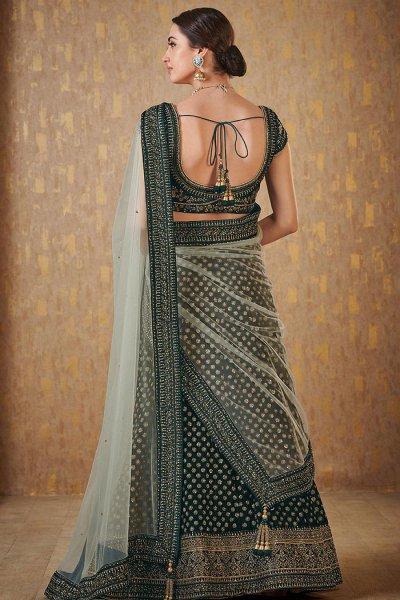 Bottle Green Designer Zari Embroidered Silk Lehenga