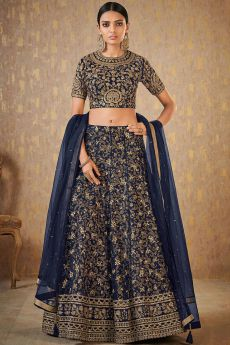 Dark Blue Designer Zari Embroidered Silk Lehenga