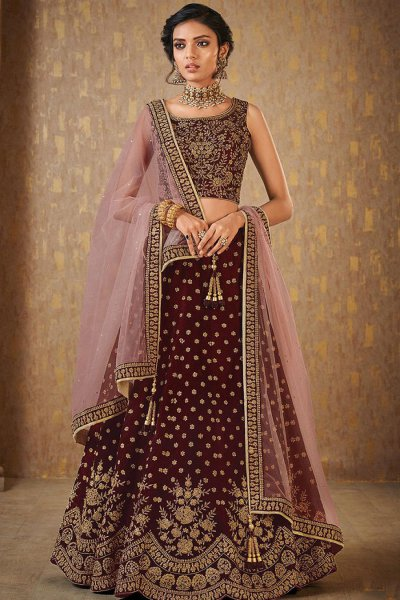Wine Designer Zari Embroidered Silk Lehenga