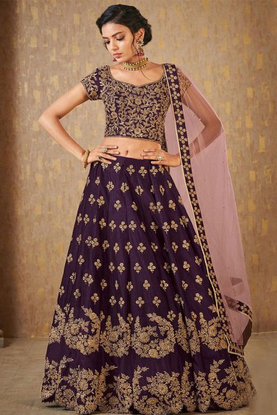 Burgundy Designer Zari Embroidered Silk Lehenga