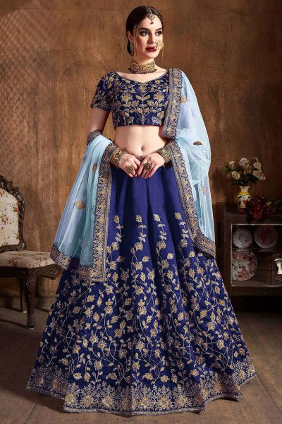 Blue Zari Embroidered Designer Indian Lehenga in Silk