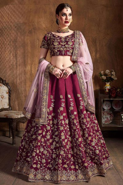 Wine Zari Embroidered Designer Indian Lehenga in Silk