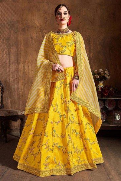 Yellow Zari Embroidered Lehenga in Silk with Lehriya Dupatta