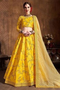Yellow Zari Embroidered Lehenga in Silk with Lehriya Dupatta