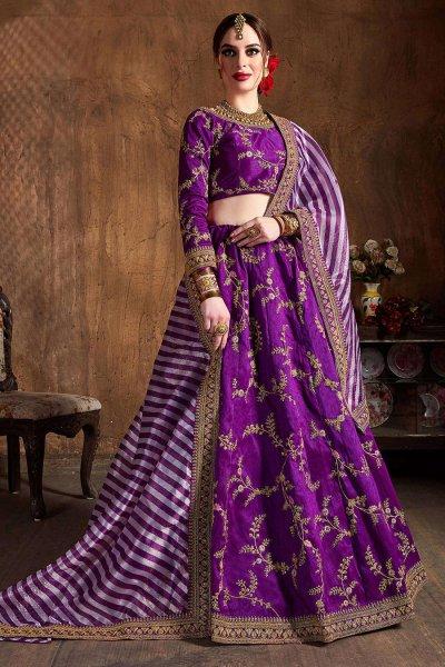 Purple Zari Embroidered Lehenga in Silk with Lehriya Dupatta