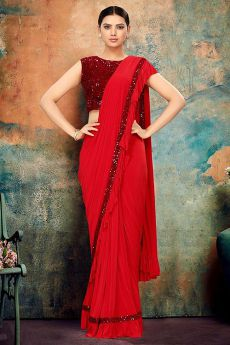 Red Ruffle Saree with Sequin Detailing