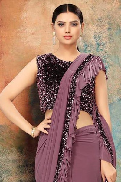 Dark Lilac Ruffle Saree with Sequin Detailing