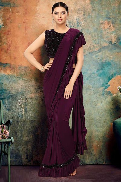Dark Burgundy Ruffle Saree with Sequin Detailing