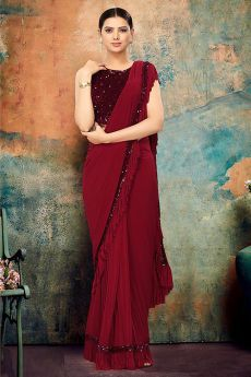 Maroon Ruffle Saree with Sequin Detailing