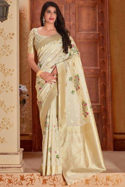 Off-White Banarasi Silk Saree with Zari Gold Border