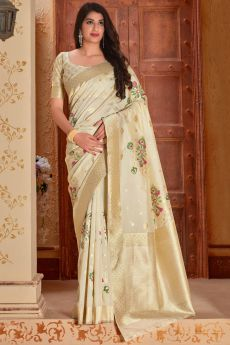 Off-White Banarasi Silk Saree with Zari Gold Border