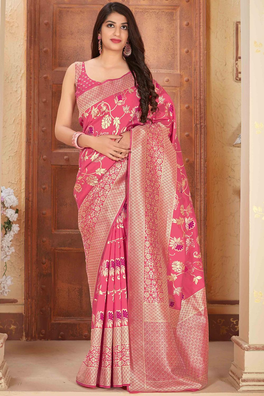 Peachish Pink Banarasi Silk Saree with Zari Gold Border
