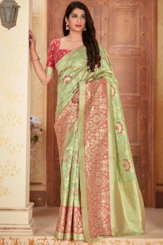 Light Green Banarasi Silk Saree with Zari Gold Border