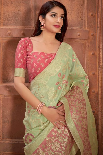 Light Green Banarasi Silk Saree with Zari Gold Border