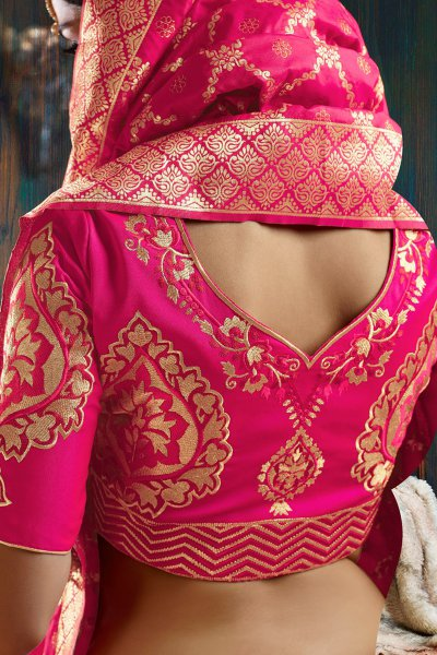 Beautiful Pink Banarasi Silk Indian Lehenga