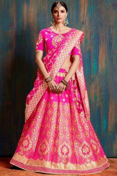 Beautiful Pink Banarasi Silk Indian Lehenga