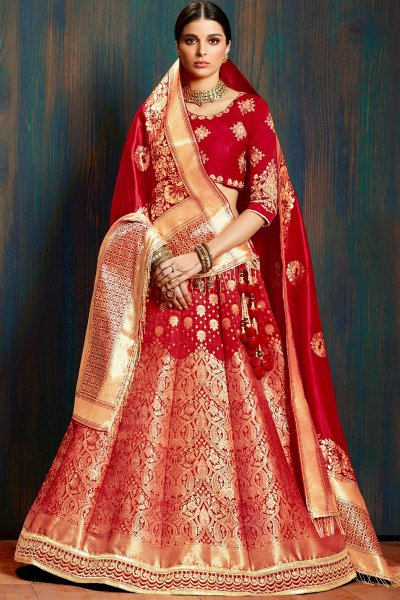 Beautiful Red Banarasi Silk Indian Bridal Lehenga