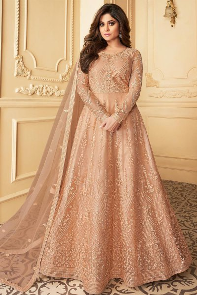 Peach Embroidered Anarkali Suit with Net Dupatta