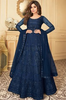 Dark Blue Embroidered Anarkali Suit with Net Dupatta