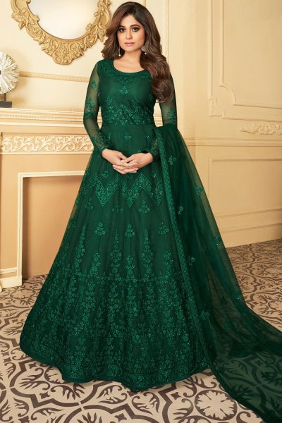 Bottle Green Embroidered Anarkali Suit with Net Dupatta