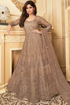 Pale Brown Embroidered Anarkali Suit with Net Dupatta