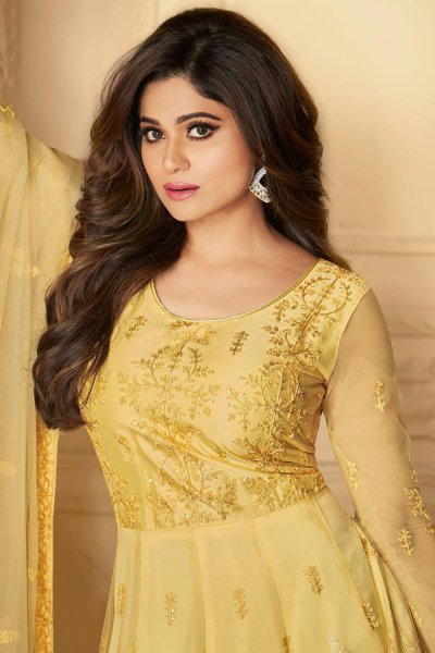 Yellow Embroidered Anarkali Suit with Net Dupatta