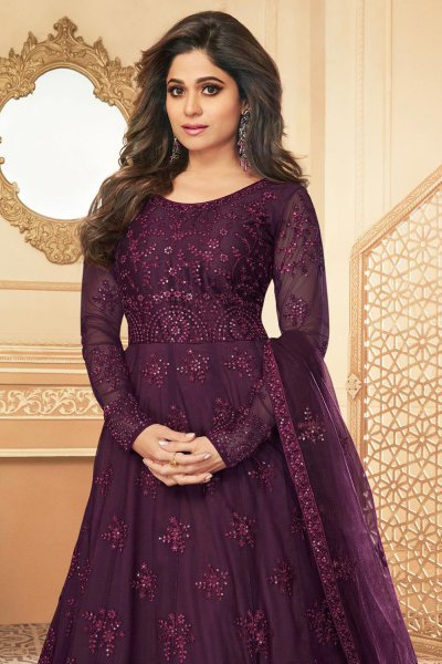 Purple Embroidered Anarkali Suit with Net Dupatta