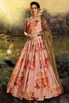 Peach Beautiful Floral Printed Silk Indian Lehenga