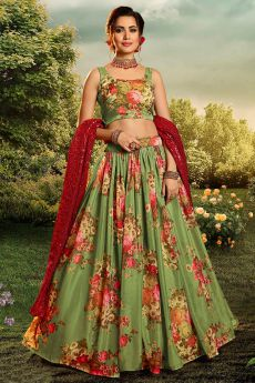 Green Beautiful Floral Printed Silk Indian Lehenga