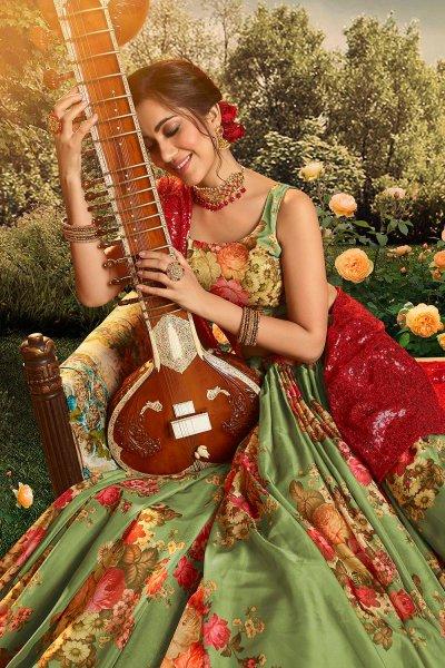 Green Beautiful Floral Printed Silk Indian Lehenga