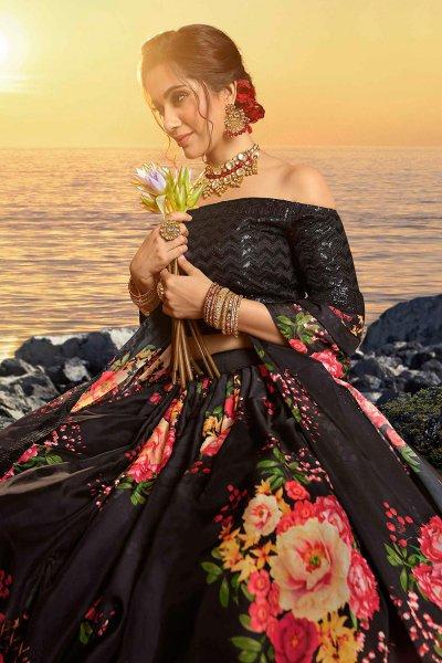 Black Beautiful Floral Printed Silk Indian Lehenga
