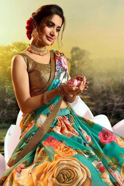 Multicolored Beautiful Floral Printed Silk Indian Lehenga
