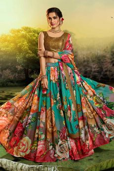 Multicolored Beautiful Floral Printed Silk Indian Lehenga
