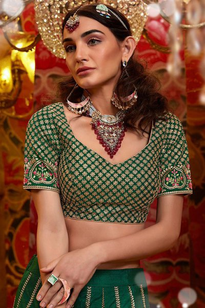Bottle Green Indian Lehenga with Floral Zari Embroidery in Raw Silk