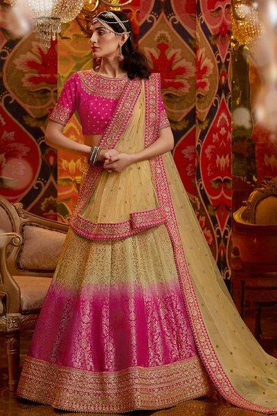Pink and Beige Jacquard Weaved Silk Lehenga