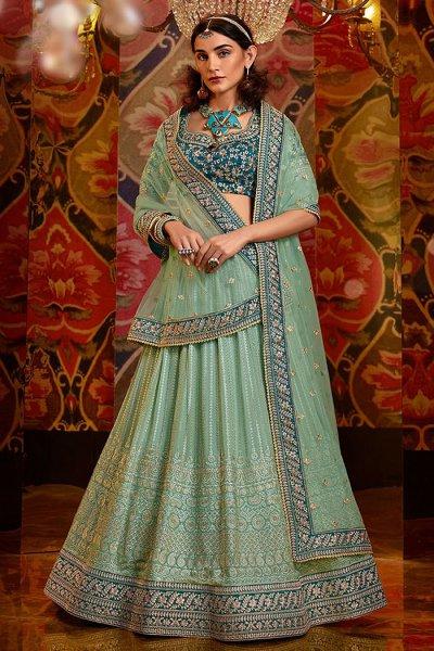 Pista Green Georgette Lehenga Choli with Embellishments