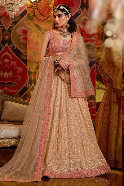 Beige and Rose Gold Georgette Lehenga with Zari Embroidery