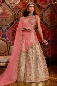 Off White and Pink Zari Embroidered Silk Indian Lehenga