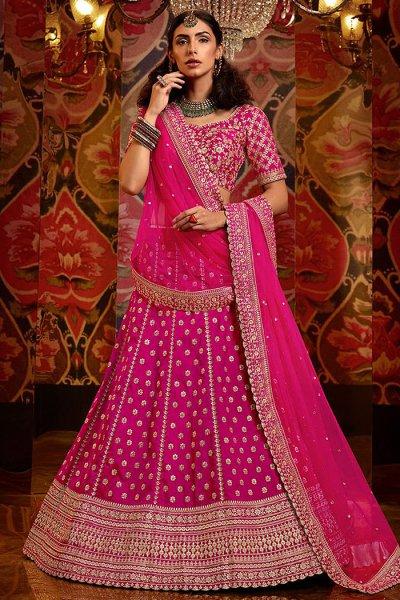Pink Designer Zari Embroidered Lehenga in Silk