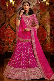 Pink Designer Zari Embroidered Lehenga in Silk