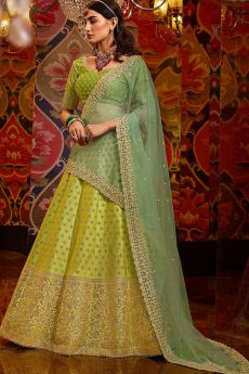 Green Silk Zari Embroidered Lehenga Choli Set