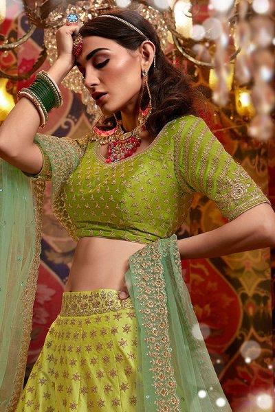 Green Silk Zari Embroidered Lehenga Choli Set