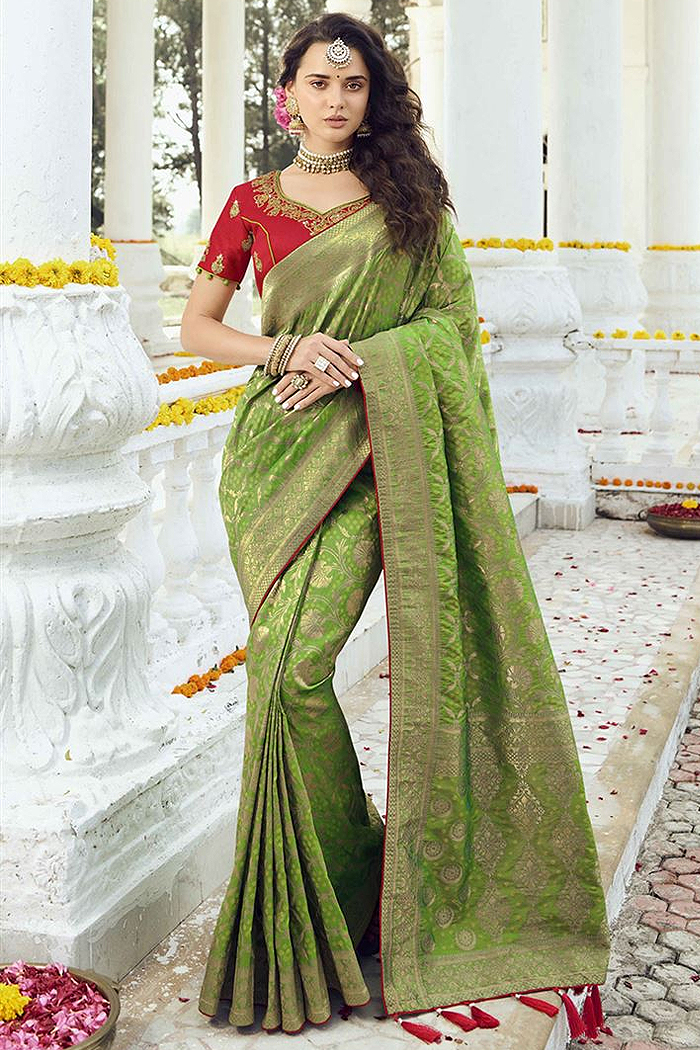 Intricate Weaved Green Banarasi Silk Saree