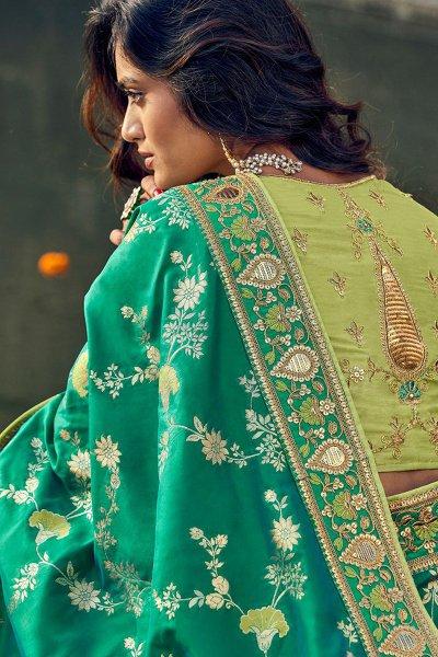 Designer Green Banarasi Silk Saree
