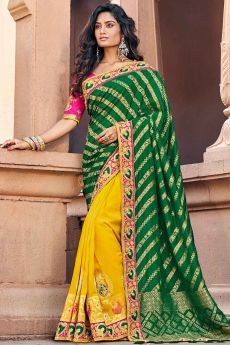 Beautiful Green and Yellow Zari Embroidered Silk Saree