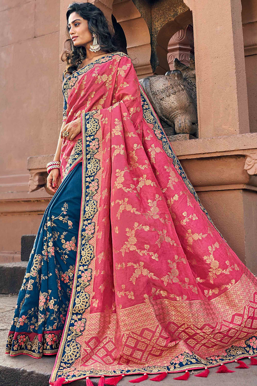Blue and Pink Silk Embroidered Saree