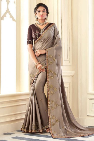 Taupe Embroidered Silk Saree with Embellishments