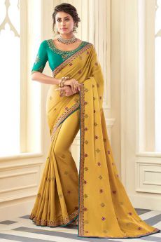 Mustard Embroidered Silk Saree with Embellishments