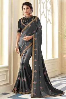 Metallic Grey Embroidered Silk Saree with Embellishments