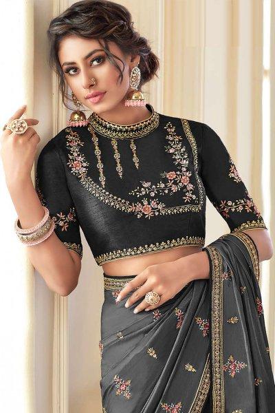 Metallic Grey Embroidered Silk Saree with Embellishments